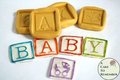 "Baby blocks silicone mold set, about 1 1/4"" wide each. Fondant or gumpaste mold for baby shower cupcake topper ideas M5125"