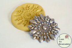 Round rhinestone and pearl applique cake decorating mold, silicone mold, beaded lace mold M5093