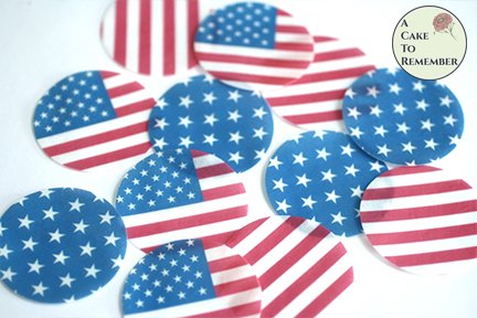 12 American flag Fourth of July edible wafer paper images and chocolate covered cookies.