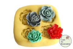 silicone four-flower mold for cake decorating, chocolate, hard candy, polymer clay, resin, wax, silicone mould, cake pops