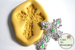 Jeweled cross silicone mold for polymer clay crafts and cake decorating. M5161