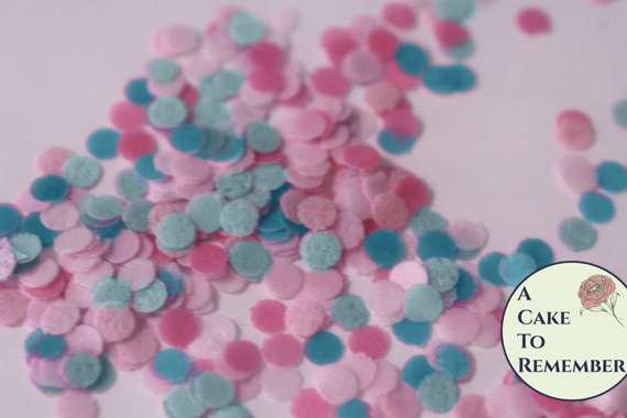 Gender reveal party edible confetti, baby shower biodegradable confetti, wafer paper confetti. Baby shower cakes, cupcakes and cake pops.