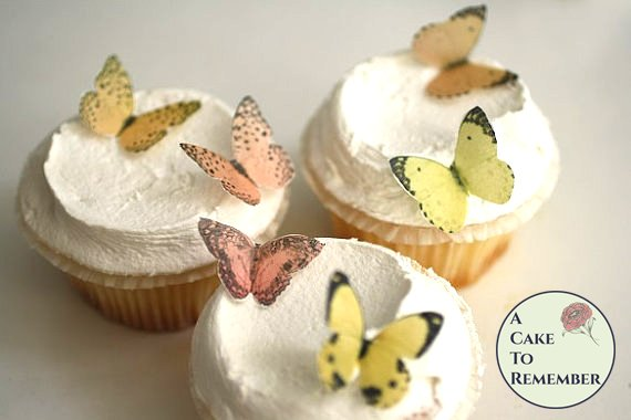 24 small yellow and orange mini cupcake decorations edible butterflies