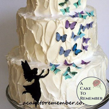 Fairy and butterflies set for cake decorating. Fairy releasing butterflies, wafer paper butterflies, edible butterflies