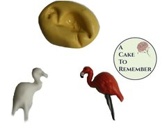 Set of 2 tiny flamingo silicone molds for polymer clay M5009