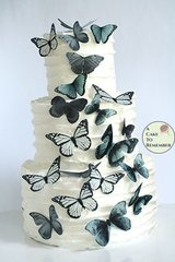 20 matte black edible butterflies, wafer paper butterflies for chalkboard wedding cake toppers.