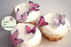 24 small shades of pink edible butterflies for cake decorating, cupcake decorating, cake pops. Wafer paper butterflies, wedding cake toppers