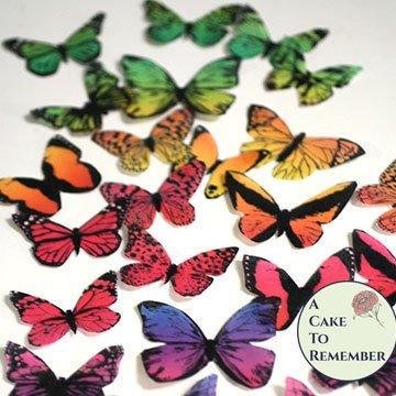 30 rainbow wafer paper butterflies cupcake topper for bithdays