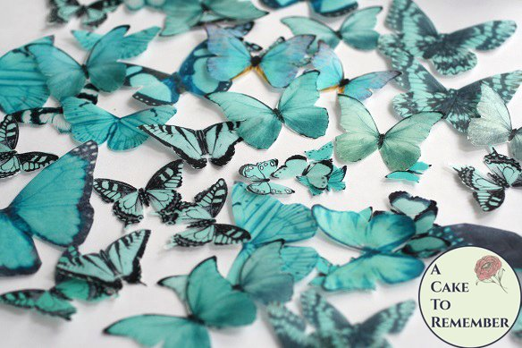 50 teal edible butterflies for butterfly cakes and cupcakes