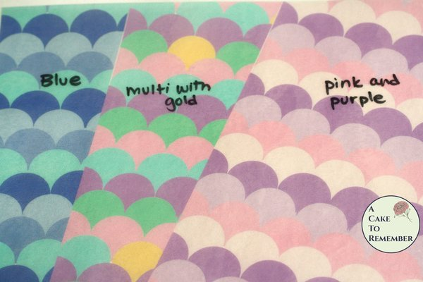 """3 full sheets mermaid scale printed wafer paper for cake decorating. 8"""" x 10.5"""" edible paper prints"""