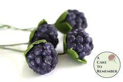 10 Gumpaste blackberries with wires for cake decorating