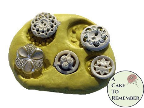 Silicone lacy vintage buttons Mold for cake decorating, chocolate, hard candy, polymer clay, resin, silicone mould M29