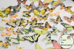 50 yellow/orange edible butterflies for butterfly cakes and cupcakes