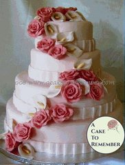 Gumpaste flower cascade for wedding cake, DIY wedding cake decorations