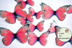 Red edible butterflies, 12 wafer paper edible butterflies for wedding cake toppers.