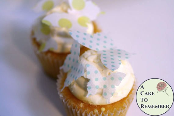 24 polka dot edible butterflies for cake decorating, cookies, cupcake decorating, cake pops. Wafer paper butterflies, wedding cake toppers.