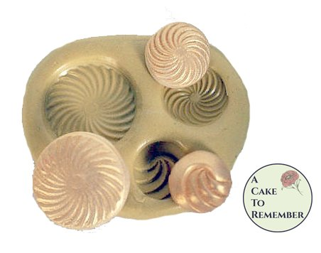 Silicone Swirly Buttons Mold for cake decorating, chocolate, hard candy, polymer clay, resin mold. M20