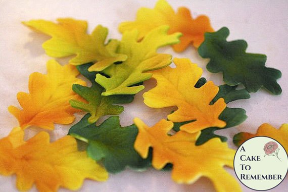 Gumpaste oak leaves for cake decorating