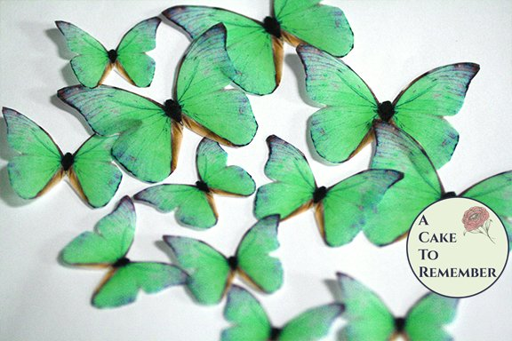 12 green wafer paper edible butterflies for rustic wedding cakes