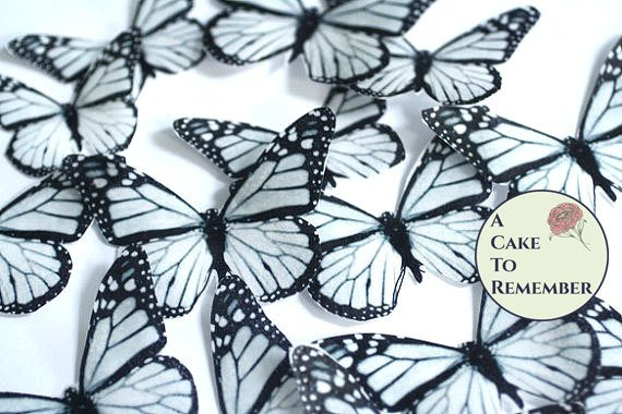 Edible butterflies, 12 black and white edible wafer paper monarch butterflies for cake decorating, cupcake decorating