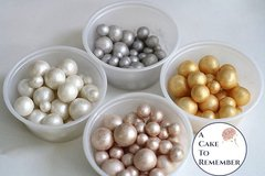 250 metallic and pearl luster fondant pearls, various sizes, for cake decorating, cake jewels, cake supplies, edible pearls, sugar pearls
