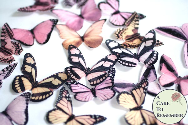 20 pink and peach edible butterflies for cupcake toppers