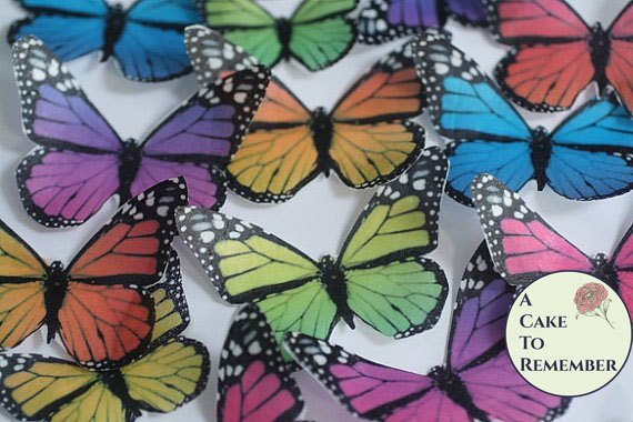 Rainbow cake decorating butterflies, 12 wafer paper monarchs