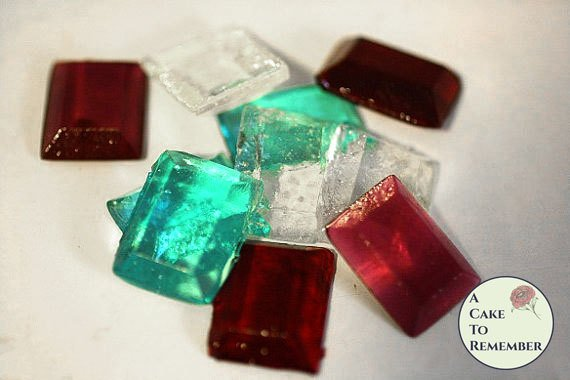 50  rectangular Sugar Jewels, Sugar Gems for cake decorating, rectangular gems