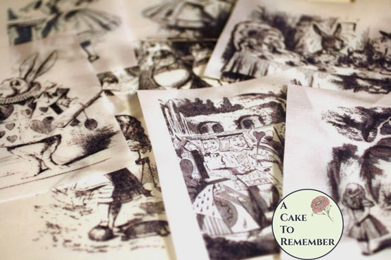 12 classic Alice In Wonderland wafer paper images for cake decorating and cookies.