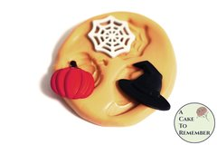 Halloween food safe silicone mold, mini witch hat, pumpkin and spiderweb M5183