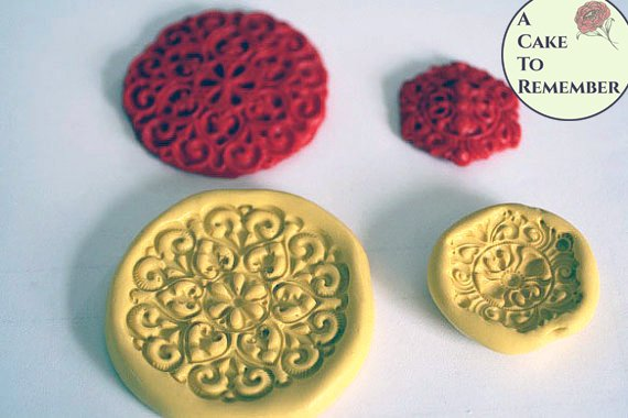 Jewel medallion mold set for cake decorating, cupcakes, cake pops, resin or polymer clay. Silicone mould.