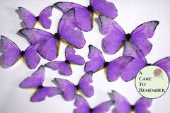 Lavender edible butterflies, 12 wafer paper edible butterflies for wedding cake toppers.