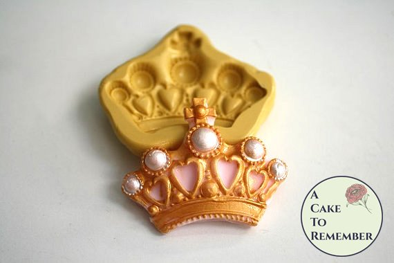 Crown with pearls silicone mold for gumpaste, fondant, polymer clay and resin. M5047