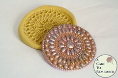 Rhinestone and pearls medallion silicone mold for cake decorating, beaded lace mold M5087