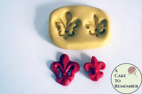 Fleur De Lis mold for cake decorating, cake pops, cupcake decorating, or polymer clay and resin. Fleur de lis mould.