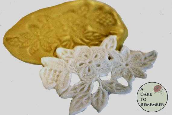 Flower and leaf lace silicone mold for cake decorating