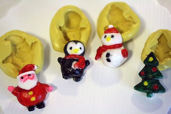 Christmas Silicone Mold set, Santa, penguin, snowman and tree, for fondant -food-safe - cake or cupcake decorating or polymer clay