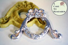 Scrollwork round frame mold for cake decorating, polymer clay. Cake supplies and cake silicone molds for DIY wedding cakes. Vintage frame M5066