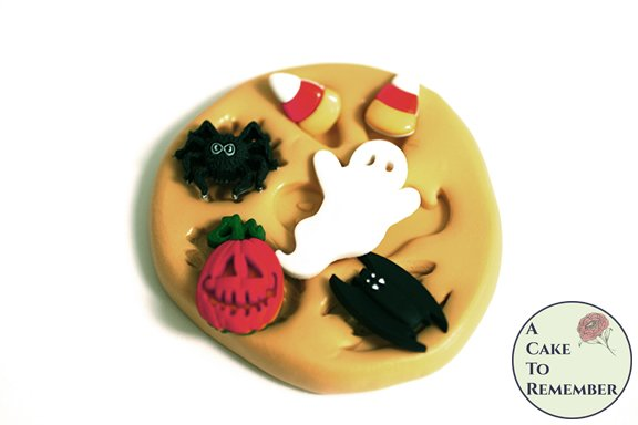 Halloween food safe silicone mold, Small ghost, bat, jackolantern, candy corn and spider. M5182