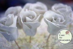 White gumpaste rose, sugar rose for cake decorating, cake decorating supplies, sugar flowers.
