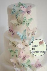 24 sheet music wafer paper butterflies for cake decorating, cupcake decorating and cookie decorating. Edible butterflies for wedding cakes.