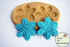 "Flower lace mold, 1.5"" wide lace flowers for cake decorating and fondant, cake pops or cupcakes. M1066"