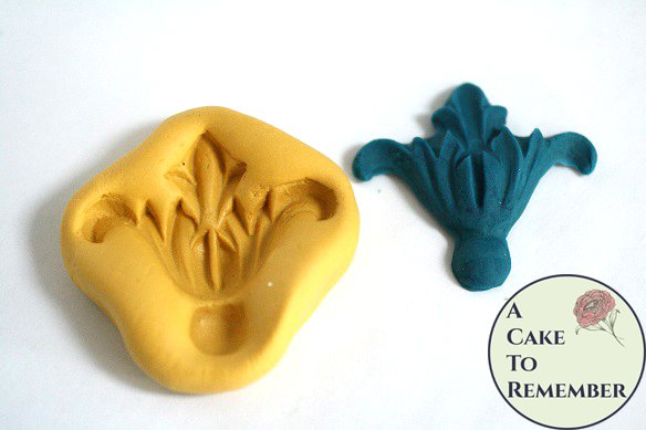 """Silicone flourish mold, fleur de lis style, 2"""" wide. Fondant or gumpaste mold. Silicone mold for polymer clay, resin, UTEE, isomalt M5101"""