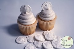 12 small edible sand dollars for cupcake toppers