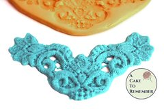 "Lace drape medallion silicone mold, 5"" wide, floral swag for cake decorating M1067"