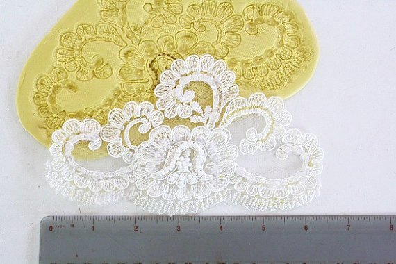 SLIGHTLY IMPERFECT-- Large alencon lace silicone lace mold for cake decorating. Fondant mold.