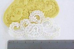 SLIGHTLY IMPERFECT-- Large alencon lace silicone lace mold for cake decorating. Fondant mold.