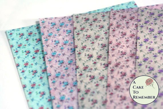 4 full sheets little roses floral printed wafer paper for cake decorating or vegan cookies. Edible paper prints.