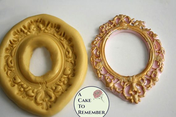 Oval frame silicone mold for cake decorating, cupcake decorating, chocolate, polymer clay, resin, silicone mould, M5048