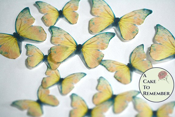 Yellow edible butterflies, 12 wafer paper edible butterflies for wedding cake toppers.